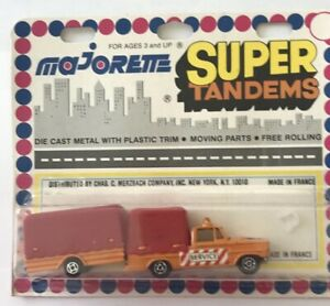 MAJORETTE #374 DODGE SERVICE REMORQUE TRAILER TRUCK ORANGE SUPER TAMNDEMS 70's