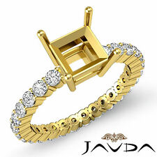 Diamond Engagement Eternity Style Ring Princess Semi Mount 18k Yellow Gold 0.8Ct
