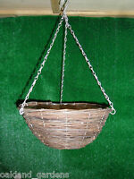 """2 X 16"""" NATURAL WICKER HANGING BASKET LINED 40CM RATTAN WILLOW FLOWER PLANTER"""