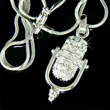 w Swarovski Crystal Music Singer Retro Studio ~Microphone~ band Pendant Necklace
