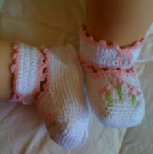 Handmade Hand Crocheted Baby/Doll Ankle Booties White Pink Crochet Flowers