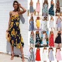 UK BOHO Womens Ladies Summer Beach Midi Dress Holiday Strappy Button Sun Dresses