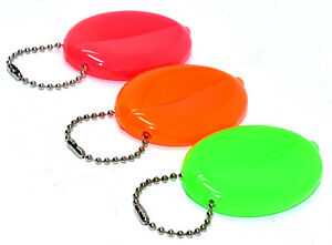 3 Mixed Rubber Coin Purses (Neon Green, Neon Pink, Orange) Ball Chains USA Made