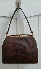 Vintage bellestone reptile skin handbag purse satchel brown snakeskin