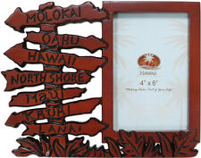 "Hawaiian Islands Wood Glass 4"" X 6"" Tropical Photo Picture Frame Hawaii  NIP"