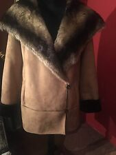 Dennis Basso Warm Winter Brown Shearling Coat, Faux Fur, Size M, NWOT