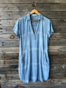 Maurices Faux Denim White Floral Print Dress w/ Short Sleeves & Pockets - Size L