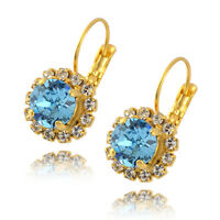 Nara Round 2 Layer Crystal Earrings, Gold Plated Drop with Swarovski