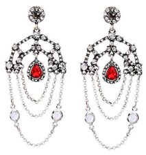 RUBY RED DESIGNER CRYSTAL RHINESTONE & Silver Art Deco Chandelier Drop Earrings