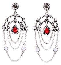 RUBY RED DESIGNER CRYSTAL RHINESTONE & Silver Art Deco Chandelier Drop Earrings