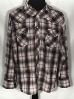 Wrangler Mens Plaid Long Sleeve Button-Front Western Fashion Pearl Snap Shirt