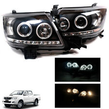 For2012+ Toyota Hilux Vigo Champ Head Light Lamp Projector Led Black Pair