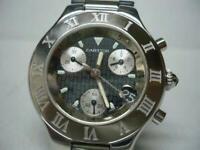 CARTIER Must 21 Chronoscaph 2424 Chronograp Date Quartz Watch Serviced Ex++