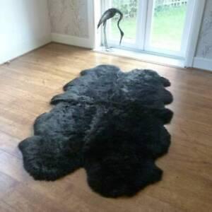 Premium Quality Quad Sheepskin Rug Natural Large Skin 4X6 Australian Black Sheep