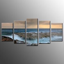 Framed Home Wall Art Decor Waves on Reef Stretched Photo Canvas Prints-5pcs