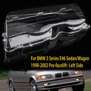 Left Headlight Lens Cover Replacement For BMW 3 Series E46 4 Door 1998-2001