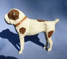 "Antique Paper Mache Bulldog Toy Dog Bru Kestner Jumeau Germany 7"" Putz Companion"
