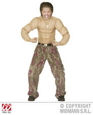 Childrens Super Muscle Chest Fancy Dress Costume Wwe Military Man 140Cm