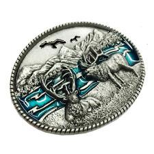 Adult Unisex Buck Hunter Whitetail Deer Emblem Buckmark Belt Buckle