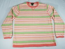 Eddie Bauer Womens Sweater Large Multicolor Stripe 0435 LS 100% Cotton Pullover