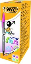 BIC CRISTAL FUN BALLPOINT PENS ASSORTED COLOURS BOX 20 **GREAT PRICE**