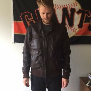 MEN'S Guess by Marciano BROWN LAMBS LEATHER BOMBER JACKET SIZE XL - DESIGNER VGC