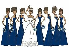 THANK YOU cards 7 African American Bridesmaids navy with blue flowers