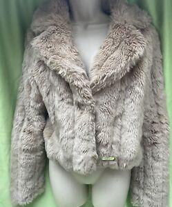 Lipsey London Size 12 Beige Faux Fur Cropped Long Sleeve Jacket