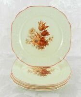 "4 Vintage 1930s Crooksville China Luncheon Plates CRO50 Euclid ""Rust Bouquet"""