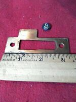 "Vtg.Solid Brass 3 5/16 x15/16"" Mortise Lock Striker strike Plate  Keeper JambG59"