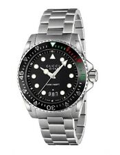 New Gucci Dive XL Sport Black Dial Stainless Steel Bracelet Men's Watch YA136208
