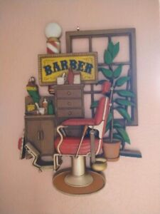 Antique Barber Chair Barber Pole Plaque 3-D