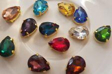 12 pieces 14 x 10mm Multi Colours Pear Shape Rhinestone Flat back Claw Sew On