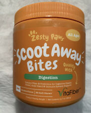 Zesty Paws Scoot Away PROBIOTIC Bites Dogs 90 soft chews Digestion Chicken Fiber