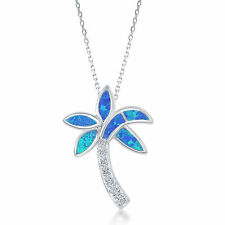 """Sterling Silver Blue Opal & CZ Palm Tree Pendant with 18"""" Chain"""