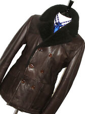 BNWT LUXURY MENS HUGO BOSS BROWN SHEARLING LEATHER BIKER PEACOAT JACKET COAT 42R