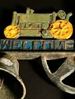 WONDERFUL OLD PAINTED METAL  WELCOME  TRACTOR BELL EARLY 20TH C FRESH OFF FARM