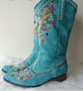 Womens PU Leather Floral Embroidered Studs Mid Calf Cowboy Boots Shoes Outwear