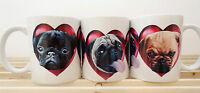 Pug Mug x 1, includes 3 coloured Pugs in Hearts, Fawn, Black Pugs Birthday Gift