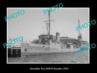 OLD POSTCARD SIZE AUSTRALIAN NAVY PHOTO OF THE HMAS DOOMBA SHIP c1950