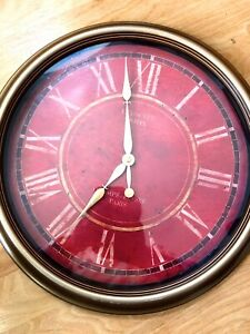 """Wall Clock Large 17"""" Round Rust Vintage Red Gold Plastic Big Roman Numerals"""