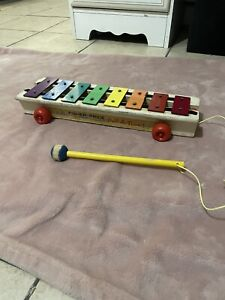 Fisher Price Vintage 1964 Wooden Pull-A-Tune Xylophone Toy #870 Kids Sound Toy
