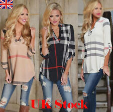 NEW Womens Blouse Striped Plaid Long Sleeve Ladies Top T Shirt Loose Casual Tops