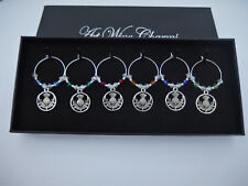 6 Crystal Glass Scottish Thistle Wine Glass Charms Gift Box Christmas, New Year