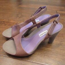 Tsubo Brown Leather Open Toes Slingbacks Heels Strappy Shoes Sz 7