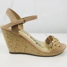"Faux Snakeskin Nude Gold Studded Platform Wedges 4"" Heels Size UK 6 39 Summer"