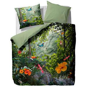 Essenza Bettwäsche Gabriel green Satin Dschungel Urwald Digitaldruck Baumwolle