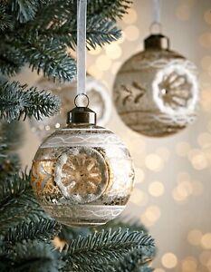 Set 5 Vintage Retro Glass Baubles - Gold & White Christmas Tree Decorations 6cm