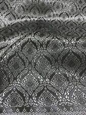 Dark Gray Silver Thai Silk Damask Fabric Tradition Wedding Dress Skirt Blouse