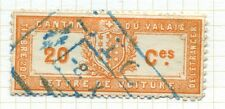 SWITZERLAND;    VALAIS Canton early ACTES ADMINISTRATIFS 1875 fine used 20c